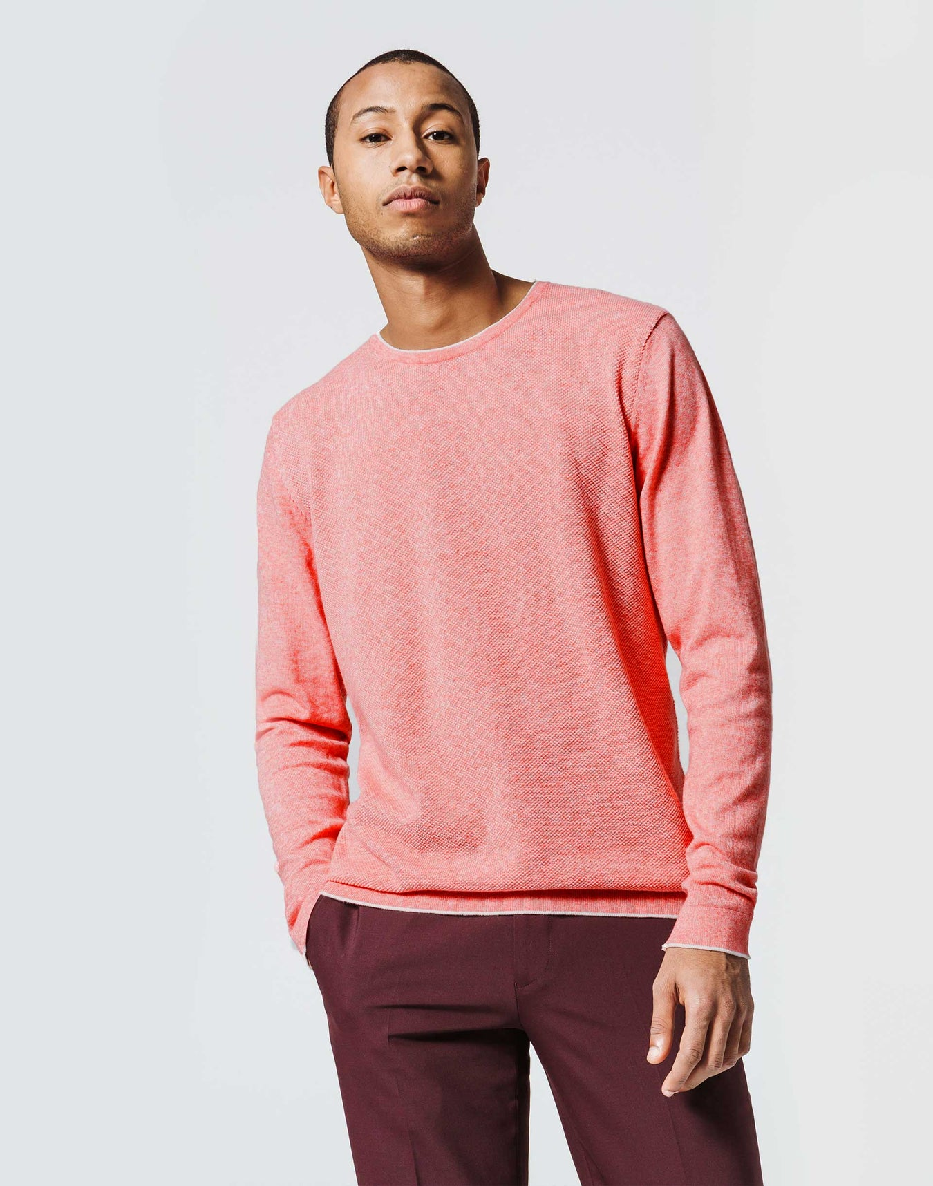Pull Col Rond Rose Chiné