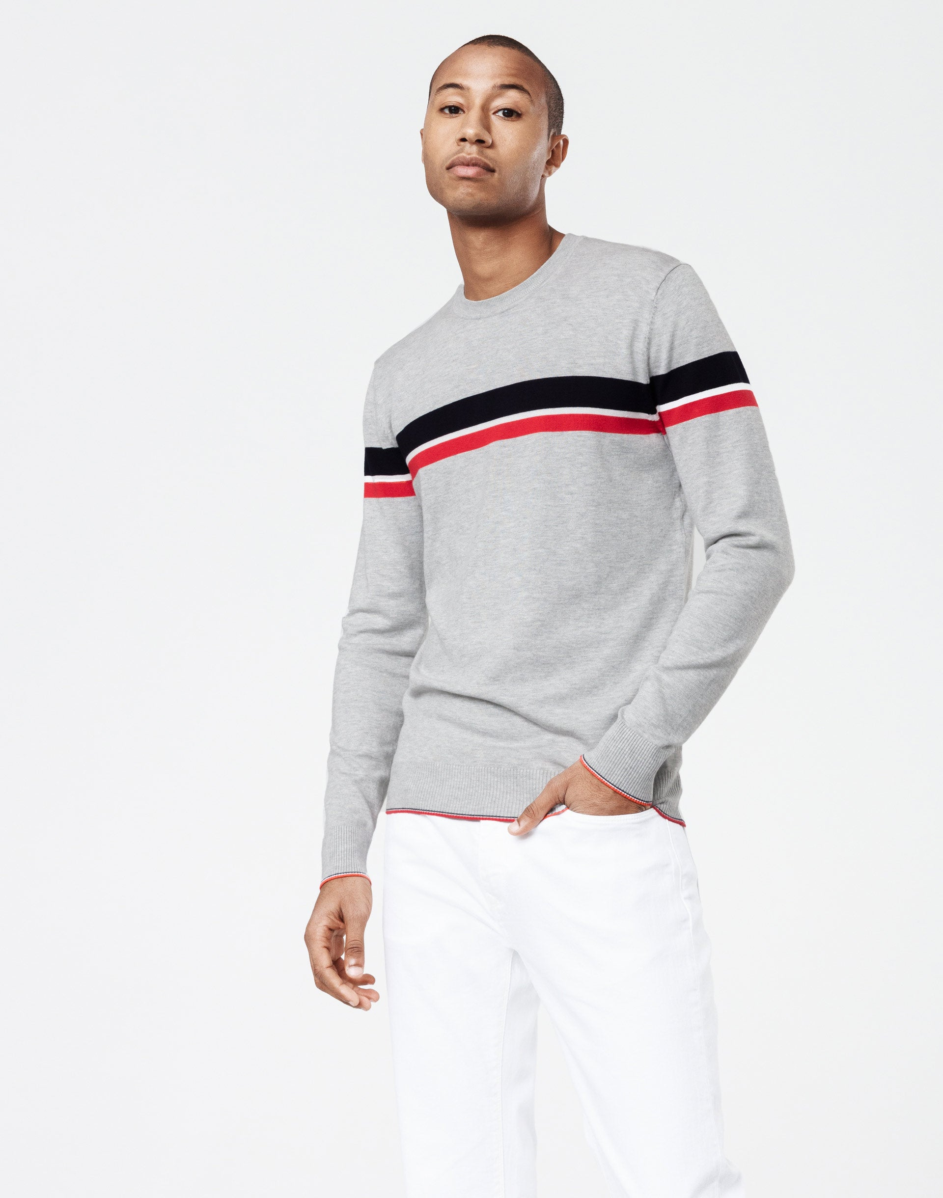 Pull gris chiné rayure sport