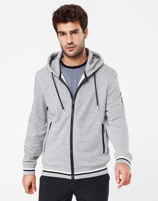 Sweat pull zippé capuche gris