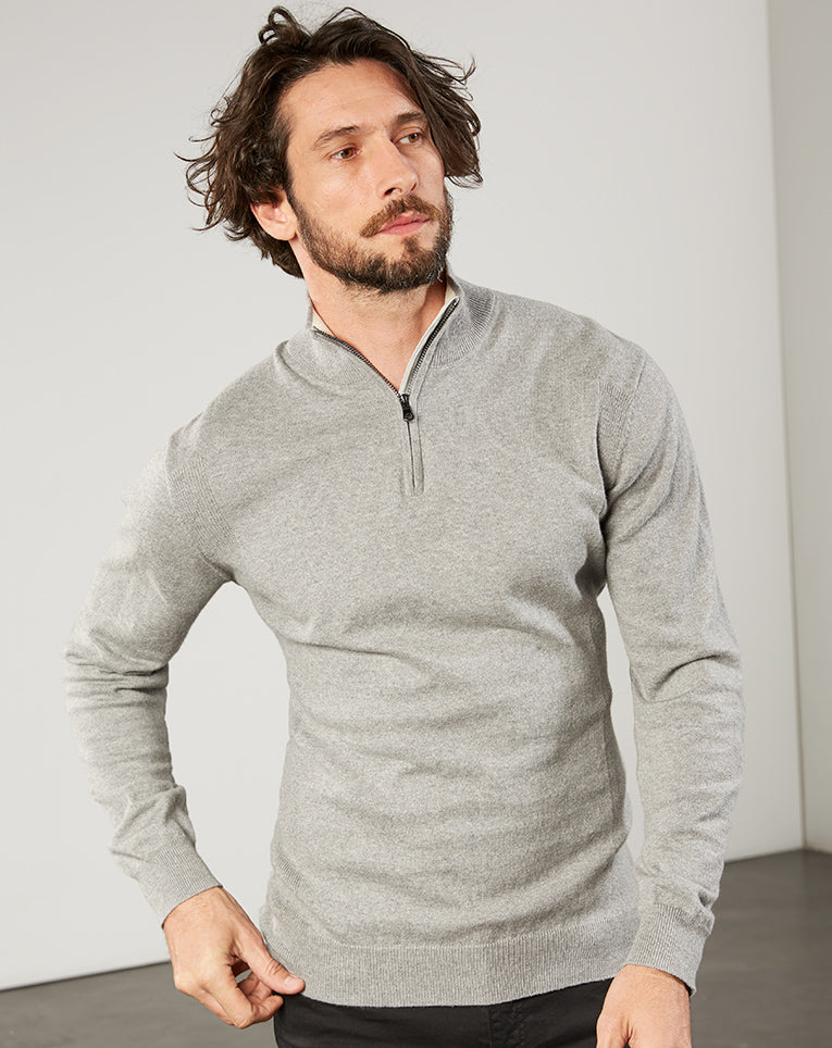 PULL COUDIERES GRIS CHINÉ