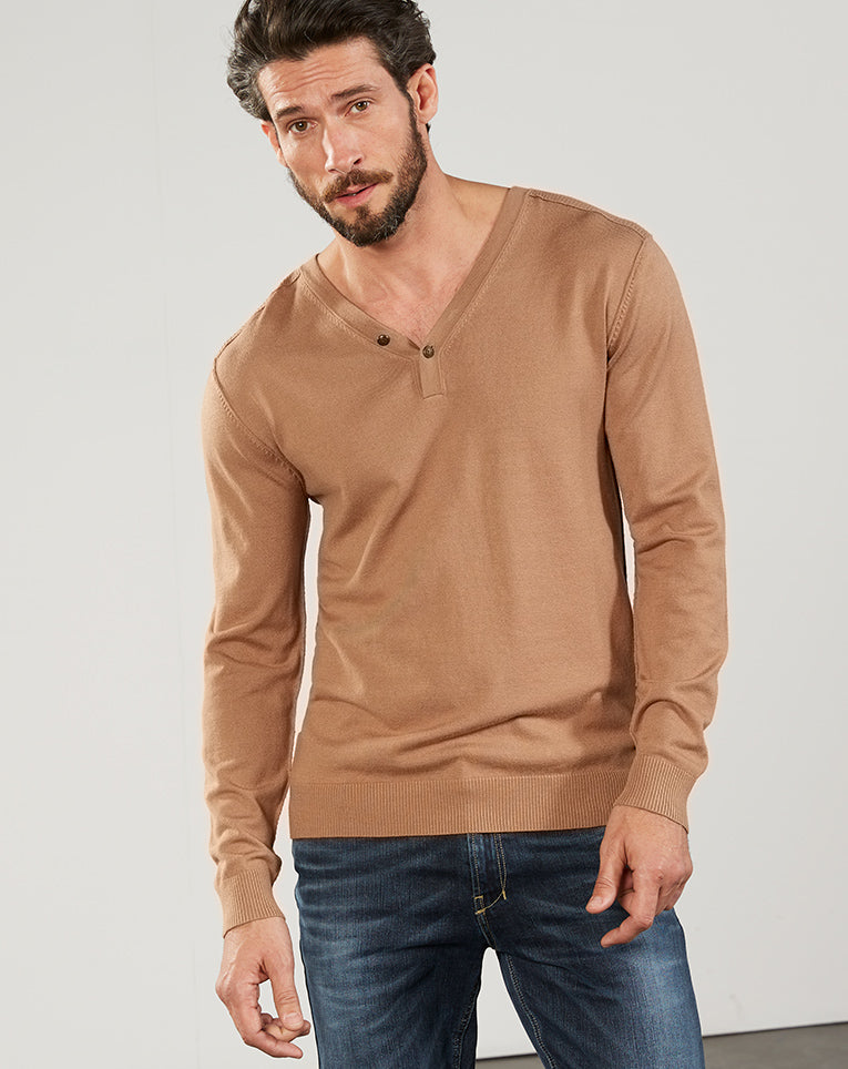 PULL COL TUNISIEN CAMEL