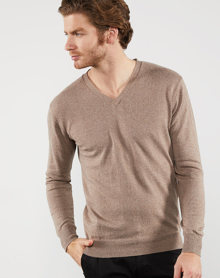 PULL COTON CACHEMIRE TAUPE