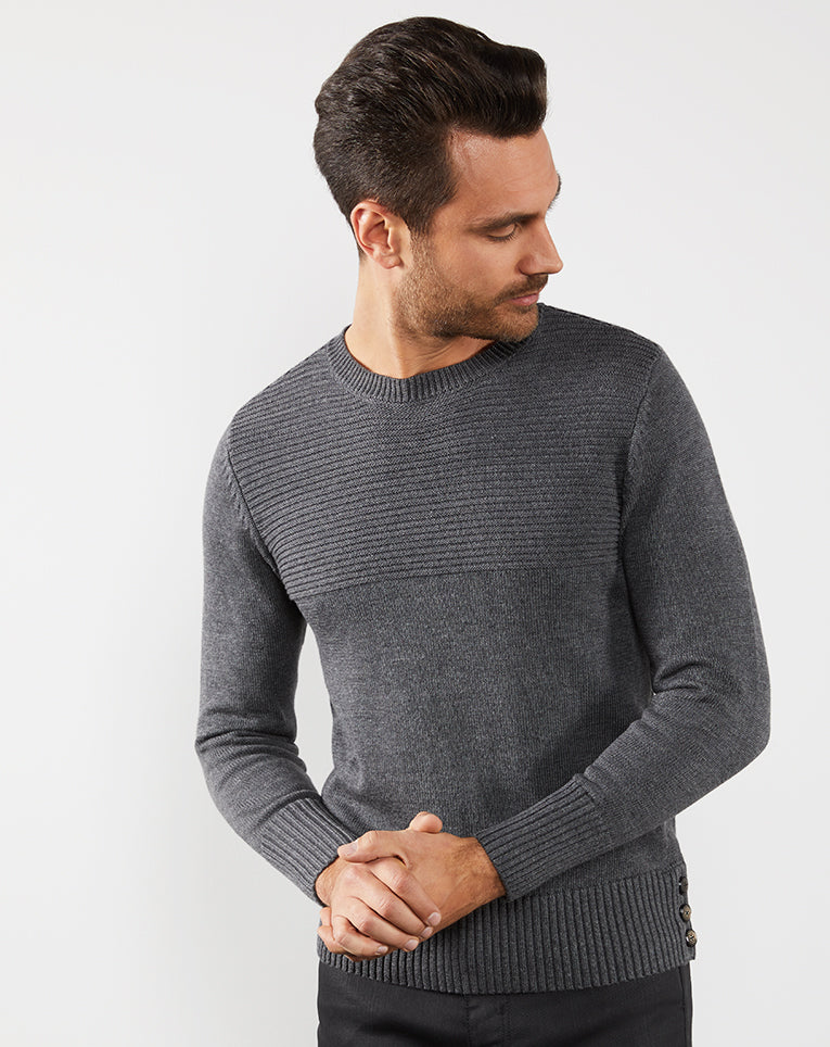PULL COL ROND JACQUARD ANTHRA