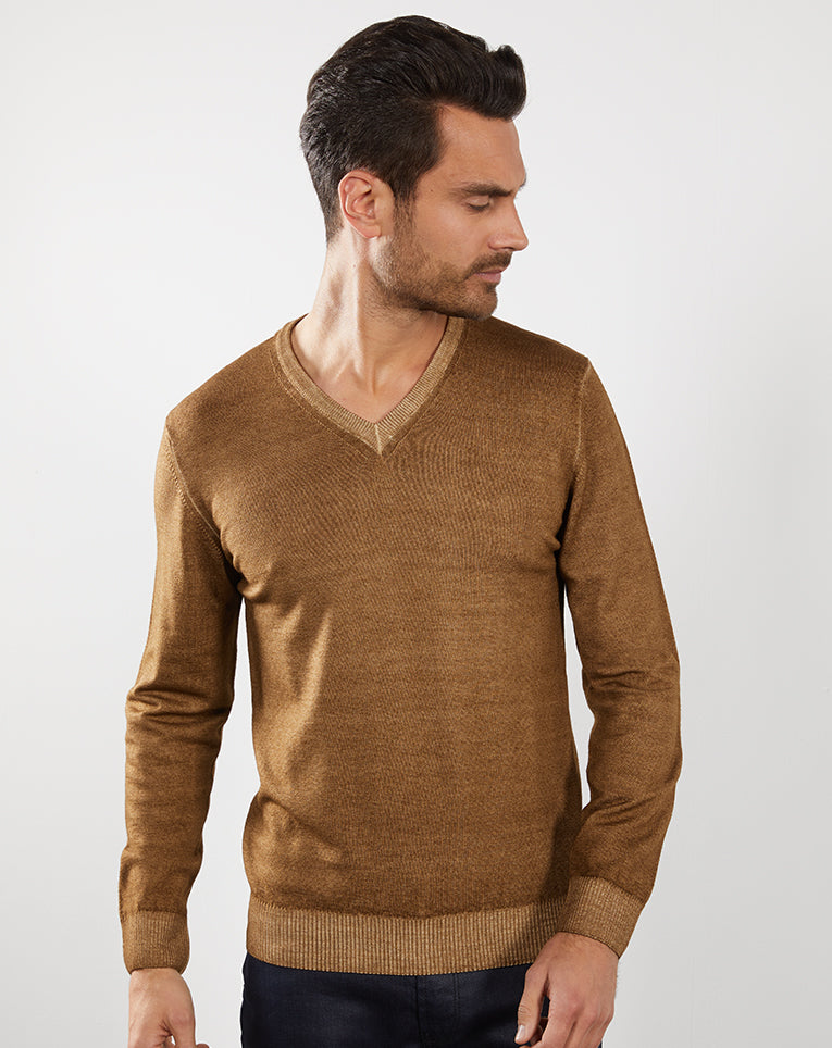 PULL TEINTURE À FROID CAMEL