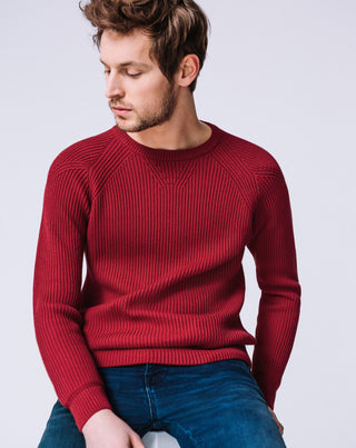 PULL MANCHES RAGLAN ROUGE