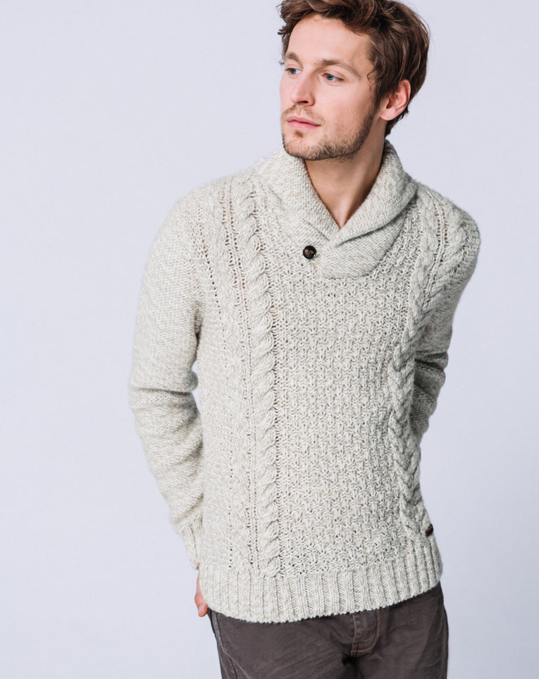 PULL COL CHÂLE BEIGE