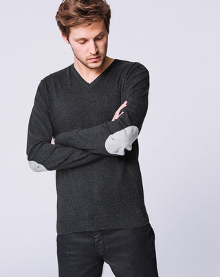 PULL COL V ANTHRACITE CHINÉ