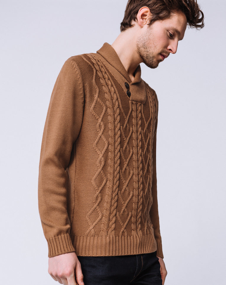 PULL COL CHÂLE CAMEL