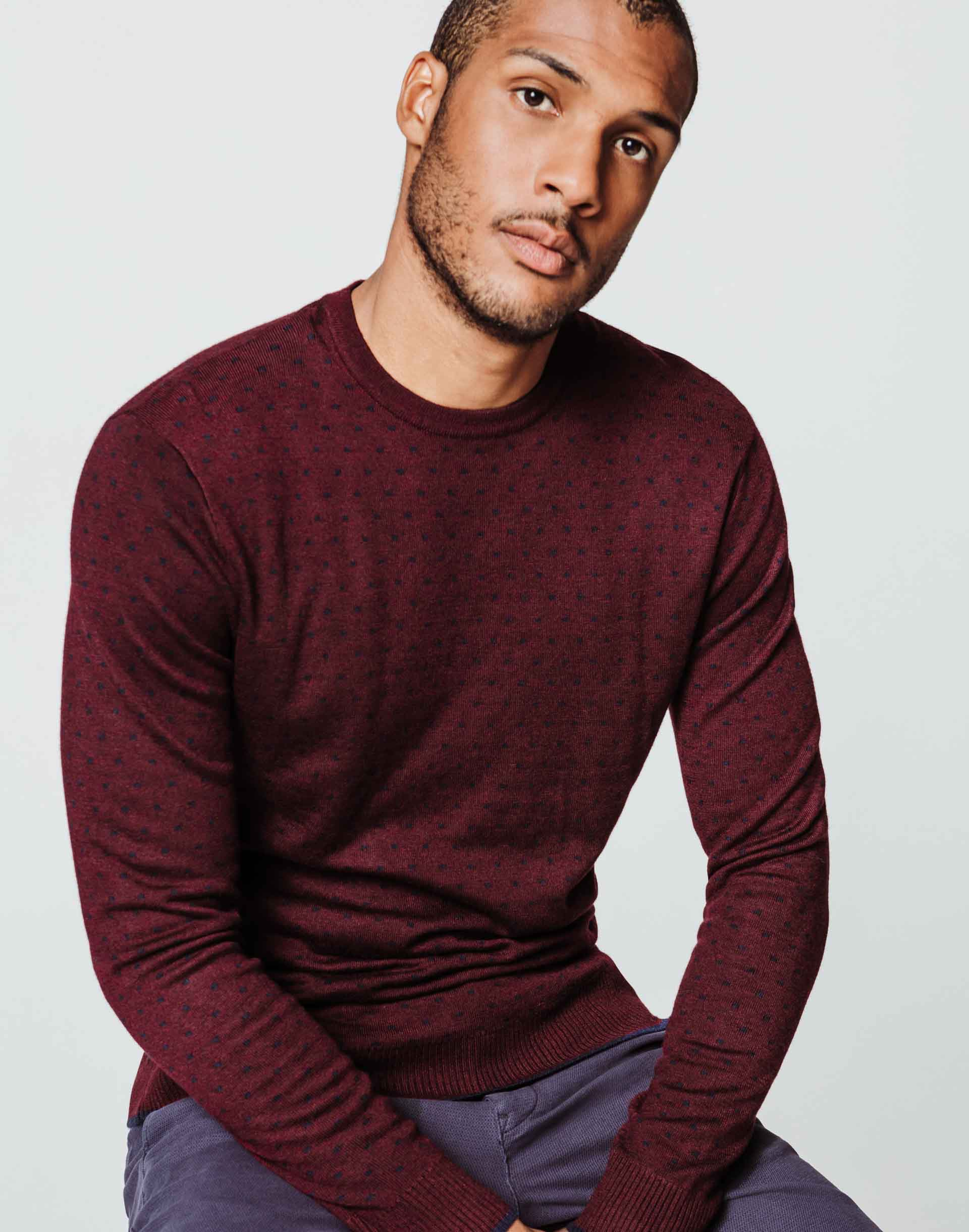 Pull motif all over bordeaux
