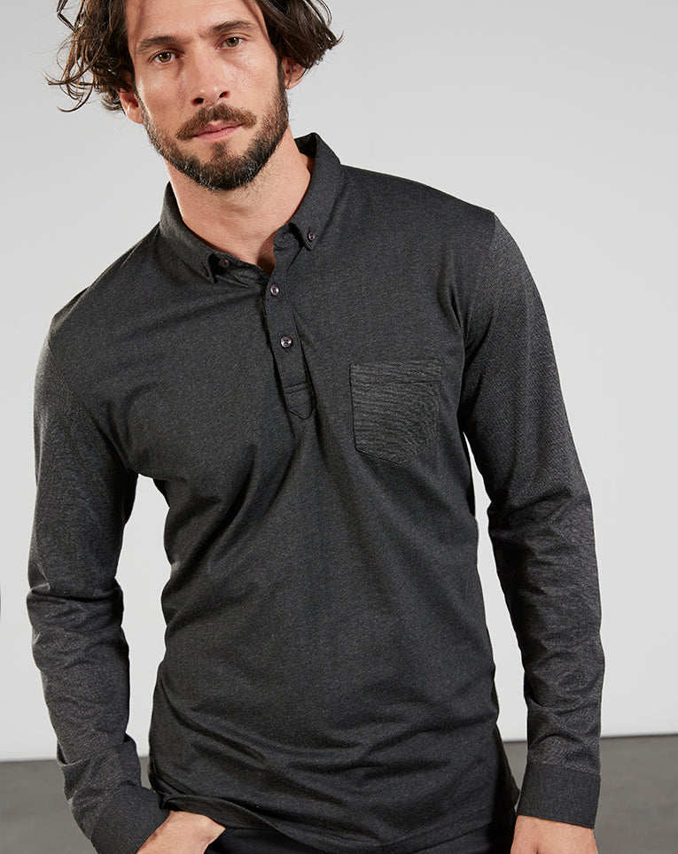 Polo manches longues acrobate anthracite