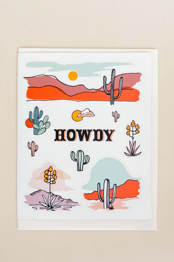 Sticker Sheet Greeting Card: Howdy Cactus - Pixelated Boutique