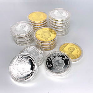 Set of 2 Gold and Silver Trump Collectors Coins