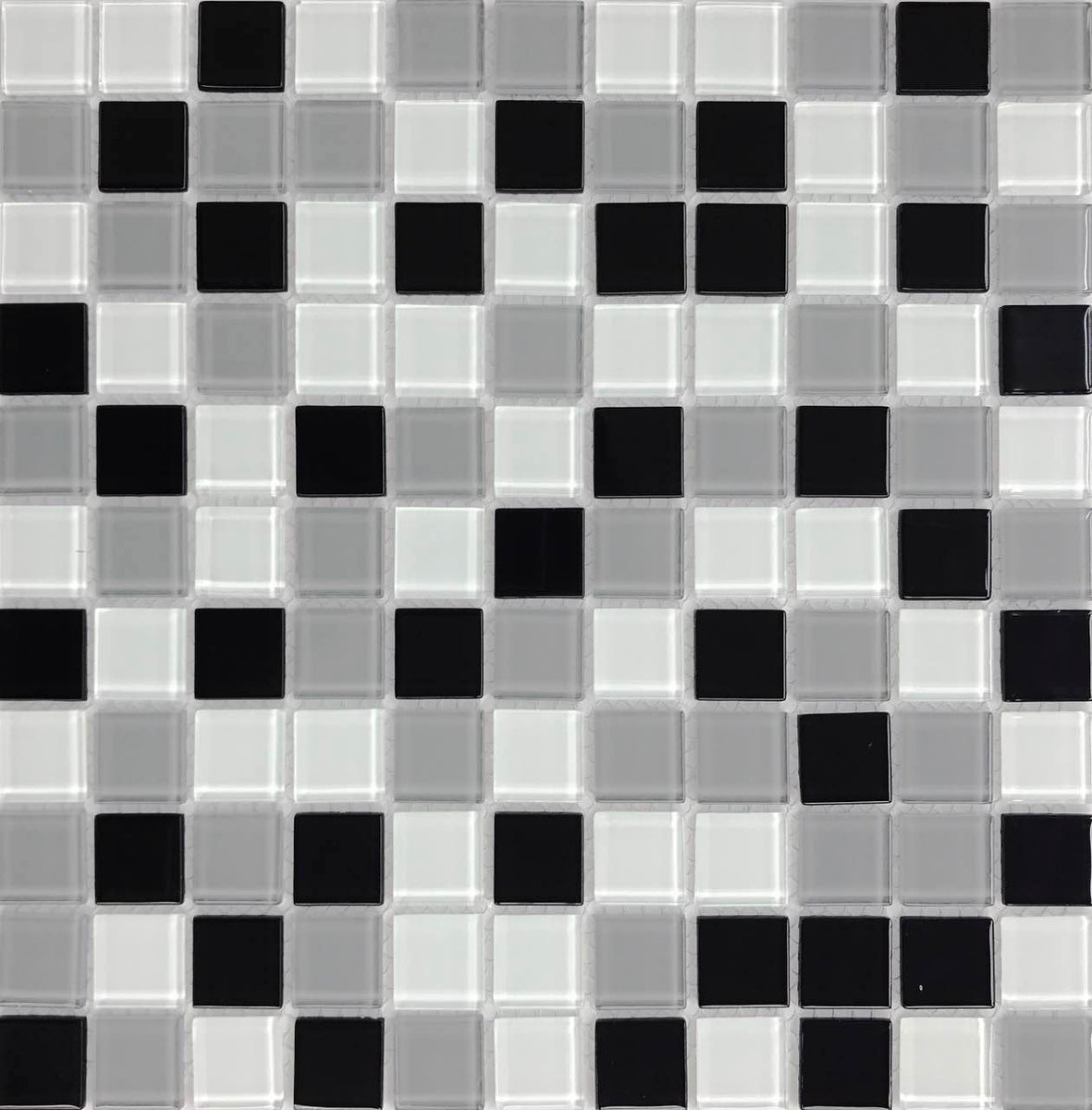 Dazzle mosaic crystal black and white gray mix glass - Black and grey house ...