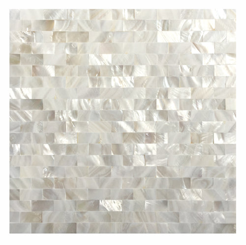 Dazzle Mosaic Mother of Pearl Shell Mosaic Tile / backsplash tile for kitchen/Sticker Tile / Bathroom Tile / kitchen tiles for wall, White Subway Mosaic Tiles (Pack of 6 Sheet)