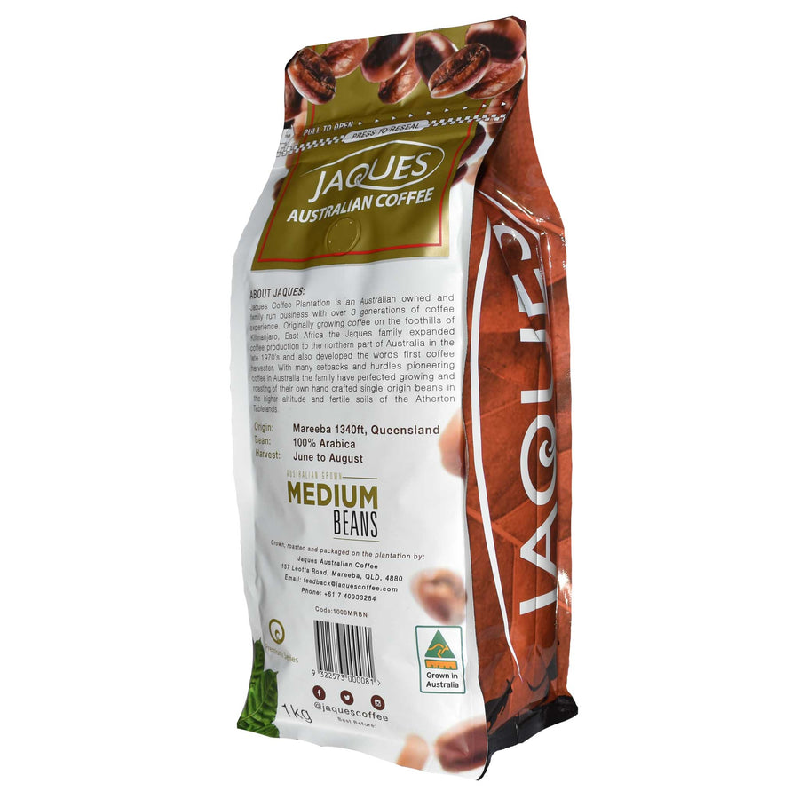 1Kg Jaques Medium Roast - Medium Grind Back of Bag