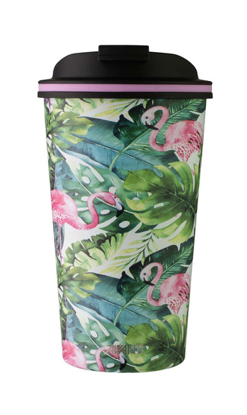 Go Cup Thermos Double Walled Cup 410ml - Flamingo Leaf