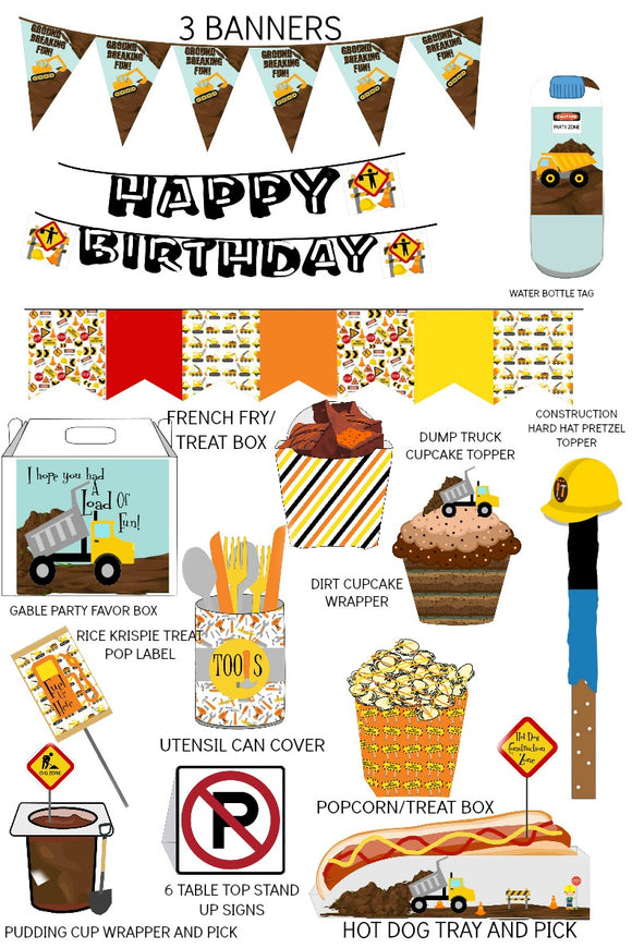 Kids Construction Birthday Party Supplies