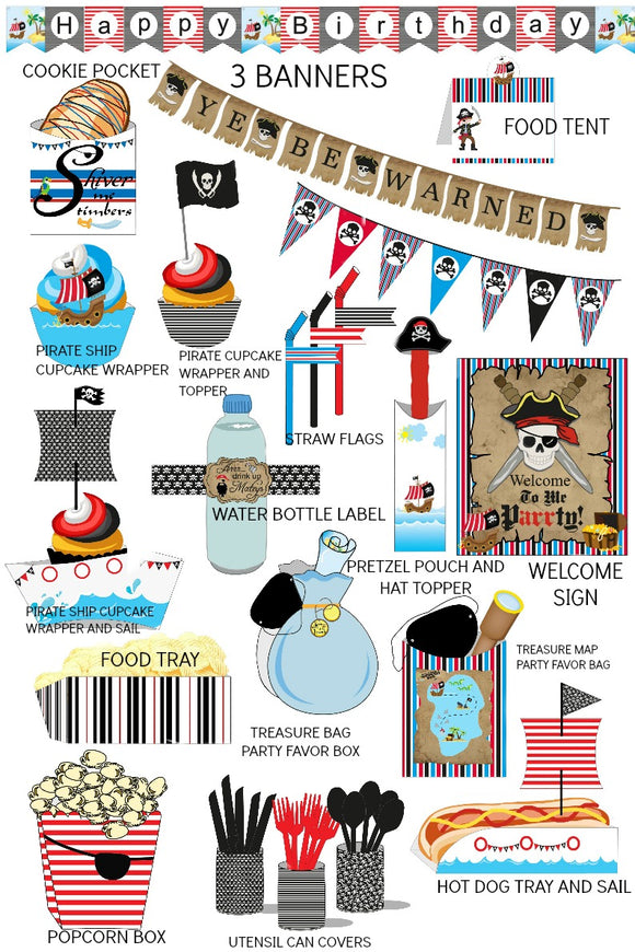 Kids Pirate Birthday Party Supplies