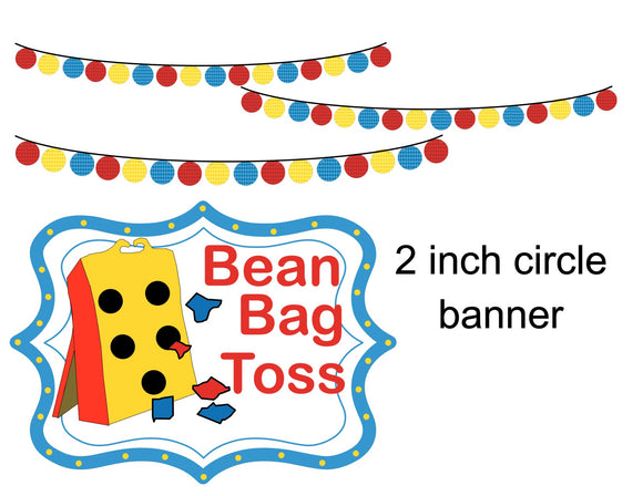 2 inch Circle Banner Instant Digital Download Country Fair Kids Birthday Party