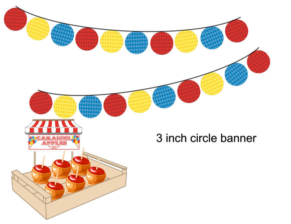 3 inch Circle Banner Instant Digital Download Country Fair Kids Birthday Party