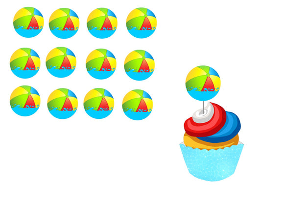 Splish Splash Pool Party Beach Ball Instant Digital Download Cupcake Topper