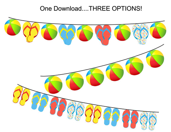 Beach Ball Splish Splash Pool Party Instant Digital Download Banner