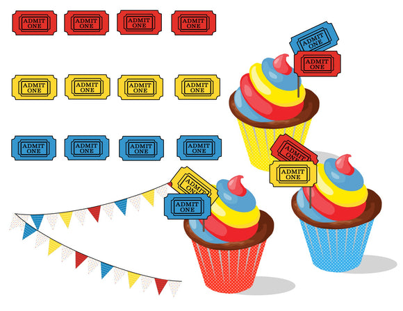 Admission Ticket Cupcake Topper Instant Digital Download Country Fair Kids Birthday Party