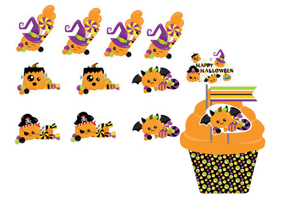 Pumpkin Trick or Treat Cupcake Toppers Instant Digital Download Happy Halloween Kids Party