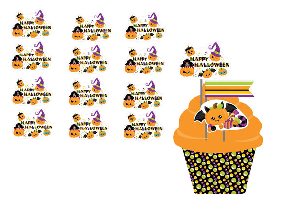Happy Halloween Cupcake Toppers Instant Digital Download Happy Halloween Kids Party