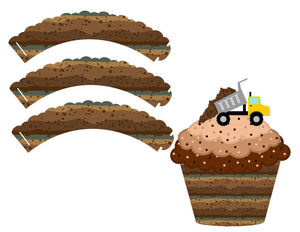 Dirt Construction Cupcake Wrapper Instant Digital Download Construction Kids Birthday Party