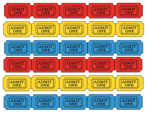Red, Yellow and Blue Fair Game Tickets Instant Digital Download Country Fair Kids Birthday Party