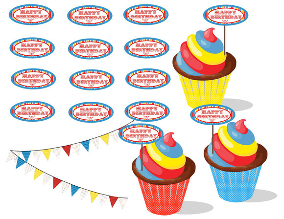 Happy Birthday Cupcake Toppers Instant Digital Download Country Fair Kids Birthday Party