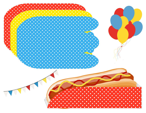 Red, Yellow and Blue Hot Dog Trays Instant Digital Download Country Fair Kids Birthday Party