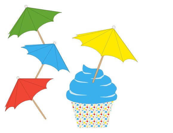 Splish Splash Instant Digital Download Pool Party Mini Cupcake Umbrella Topper