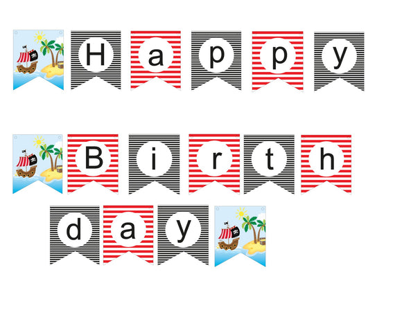 Black and Red Stripped Happy Birthday Pirate Banner Instant Digital Download Pirate Birthday Party