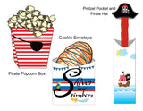 Black and White Stripped Cupcake Wrapper with Pirate Skull and Crossbones Flag Topper *SET* Instant Digital Download Pirate Birthday Party