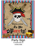 Skull and Crossbones Pirate Banner Instant Digital Download Pirate Birthday Party