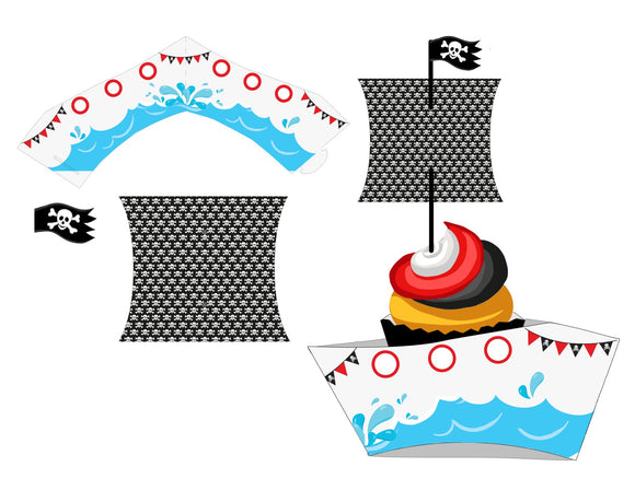 Pirate Ship Shaped Cupcake Wrapper and Sail *SET* Instant Digital Download Pirate Birthday Party