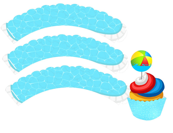 Pool Water Splish Splash Instant Digital Download Pool Party Cupcake Wrapper