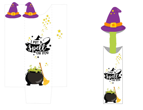 I Put a Spell on You Decorated Pretzel Pocket and Witch Hat Topper *SET* Instant Digital Download Happy Halloween Kids Party