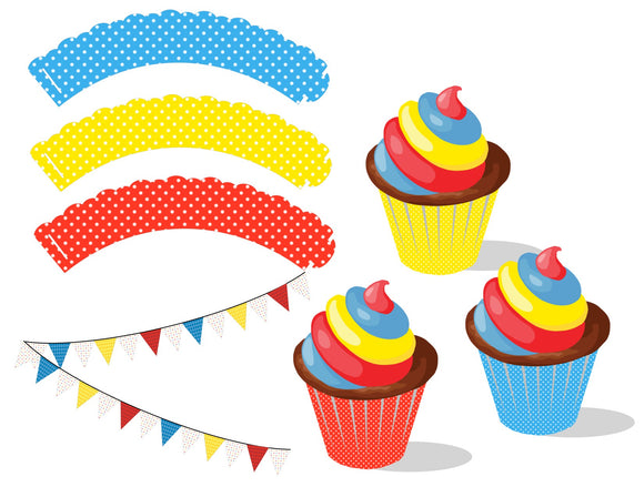 Red, Blue and Yellow Cupcake Wrappers Instant Digital Download Country Fair Kids Birthday Party