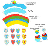 Medium Splish Splash Instant Digital Download Pool Party Umbrella Decoration