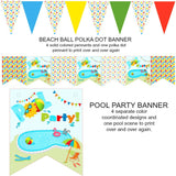 Splish Splash Pool Party Instant Digital Download Ball and Star Banner