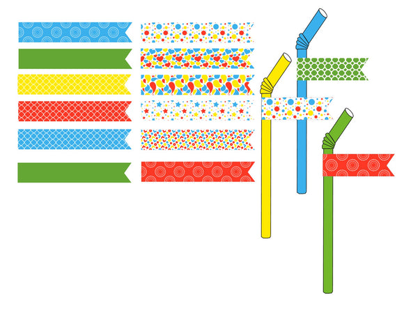 Splish Splash Pool Party Instant Digital Download Straw Flags