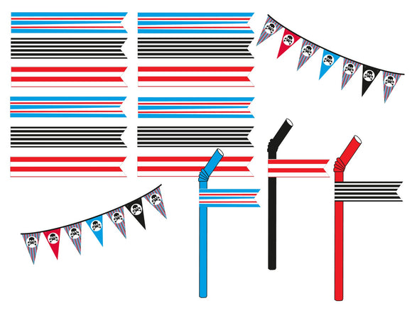 Red, Black and Blue Stripped Pirate Straw Flags Instant Digital Download Pirate Birthday Party