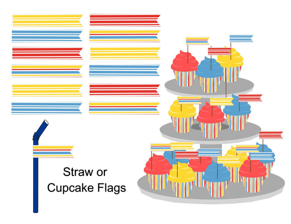 Flag Cupcake Topper-Straw Flag Instant Digital Download Country Fair Kids Birthday Party