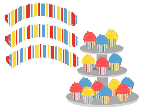 Stripped Cupcake Wrappers Instant Digital Download Country Fair Kids Birthday Party