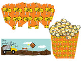 Under Construction Popcorn Container Box Instant Digital Download Construction Kids Birthday Party