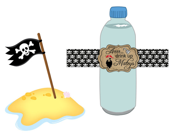 Arrr...Drink Up Mateys Water Bottle Label Instant Digital Download Pirate Birthday Party