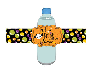 Eat Drink and Be Scary Halloween Bottle Label Instant Digital Download Happy Halloween Kids Party